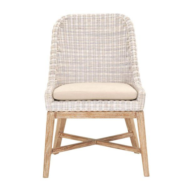 Criswell Side Chair In Cream White Wicker Dining Chairs Side