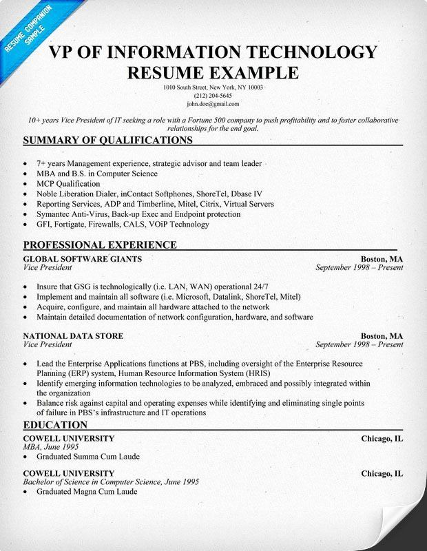 Information Technology Manager Resume Examples New Pin By Resume