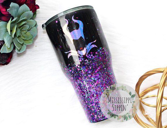 Maleficent Tumbler Glitter Glitter Cups Tumbler