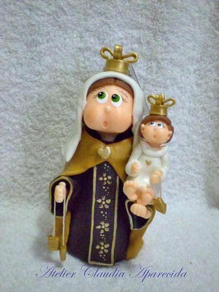 Nossa Senhora do Carmo  modelada em biscuit com características infantis.  Elo7 - Atelier Claudia Aparecida
