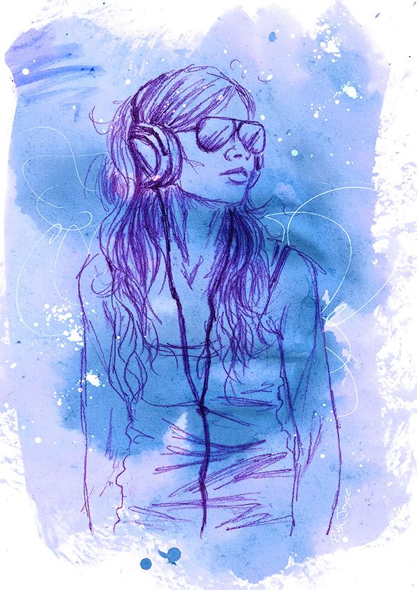 You don't always need to produce full colour pictures - why not choose one shade or complimentary colours to focus on. I used blue & purple to reflect a dreamy feeling in this illustration  #art #arttips #ruthjoyceart #drawing #artblog #painting #portrait
