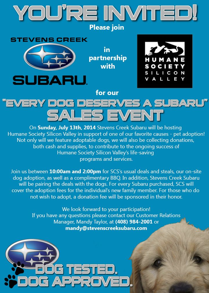 "You're invited to Stevens Creek #Subaru's ""Every Dog Deserves a Subaru"" Sales Event!"