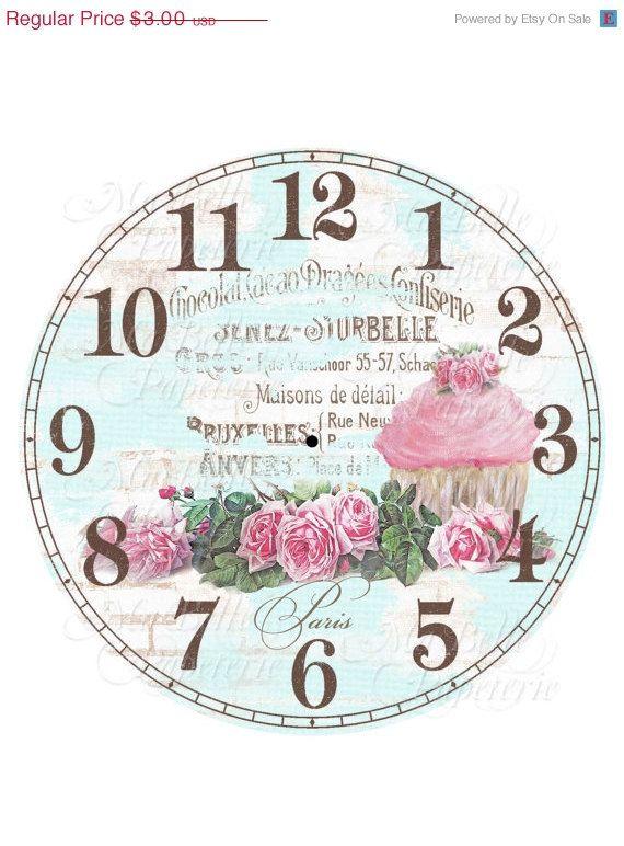 La mitad Precio de Venta Reloj-DIY Shabby Chic reloj con la magdalena, Roses y francés Ephemera