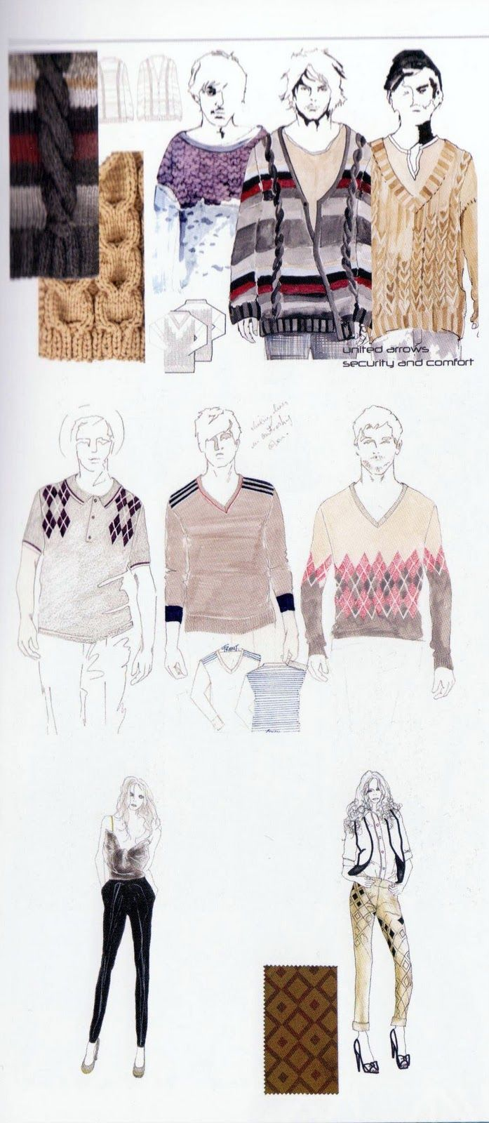 Fashion Sketchbooks - fashion design drawings; knitwear design development; fashion portfolio // Claire Bushey; Fiona Hilthouse; Miyuki Kitahara