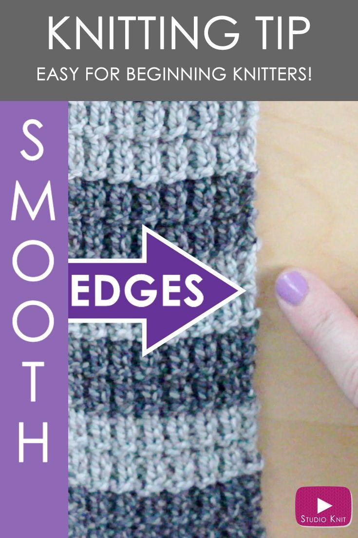 Slip Stitch Knitting Technique for Smooth Edges with Studio Knit - Includes Free Knitting Video Tutorial via @StudioKnit