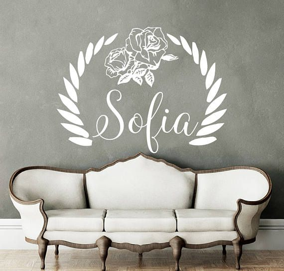 name wall decal rustic nursery decal name vinyl decal flowers girl name wall decal rustic wall