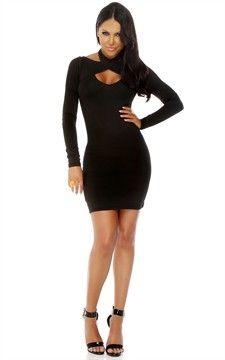 Long Sleeve Bodycon Dress   Black