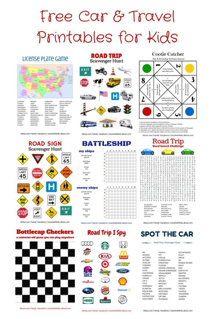 Free Printable Travel Games for Kids Trips, Cars and Travel