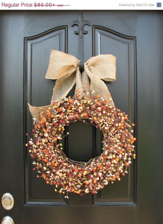 FALL guirlande  couronnes - Berry Wreath - baies toute l'année - récolte Decor - porte couronnes - décorations de saison de l'automne