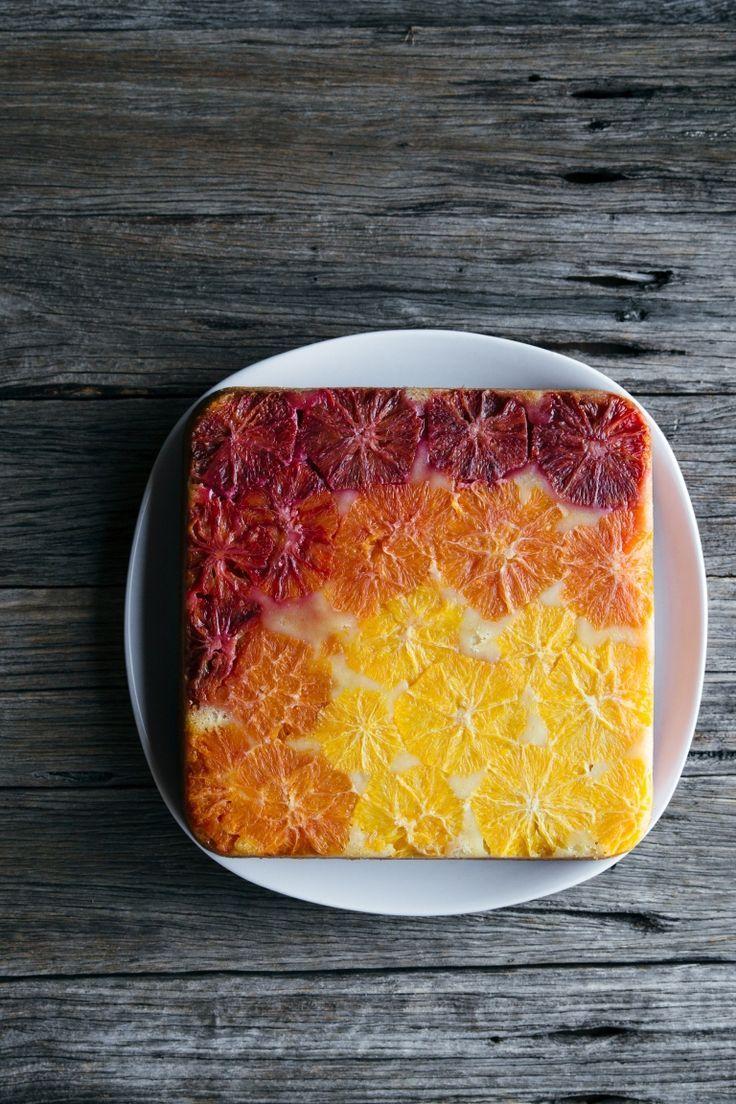 Upside Down Ombre Orange Cake With Vanilla Vegan Dairy Free Egg Free Orange Cake Orange Cake Recipe Orange Vanilla Cake