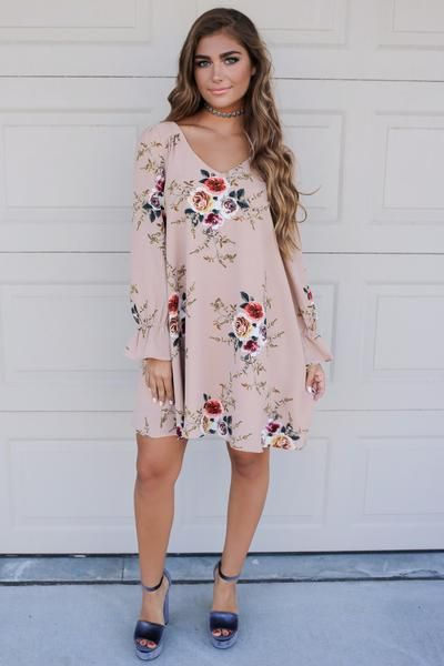 Taupe Floral Print Cutout Back Material is Polyester Dress is Lined Bell Sleeve Clinched Wrist Model Addi is 5'6 and is wearing a small Bust Length Small 17.5 3