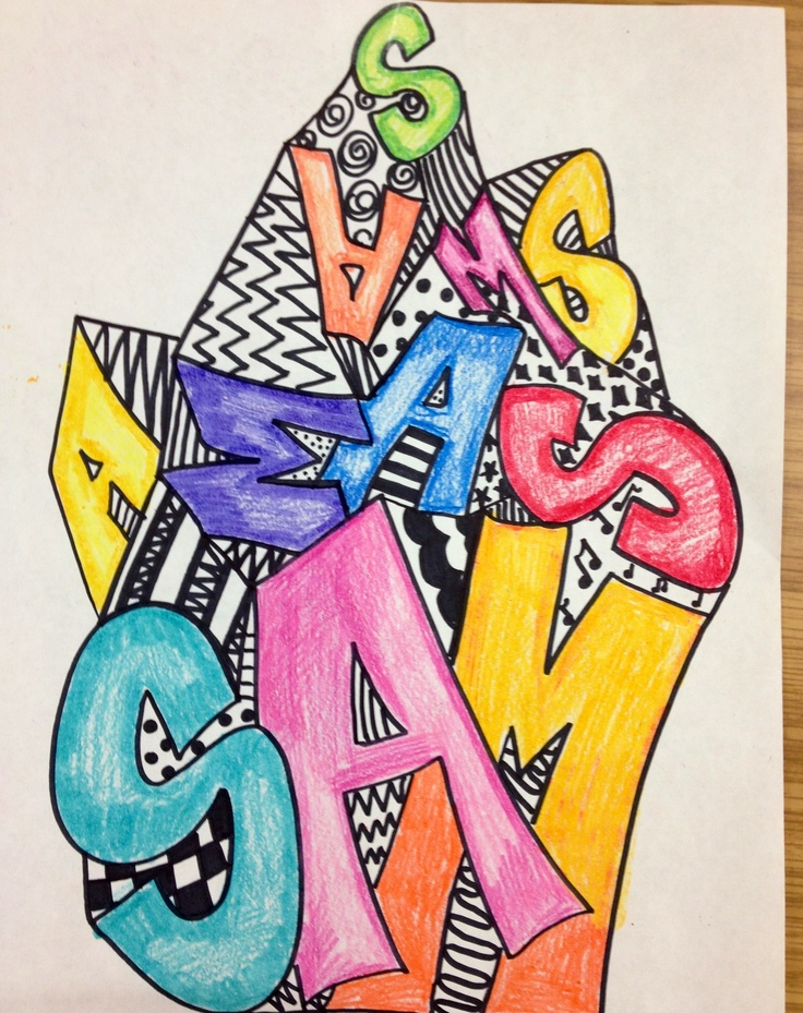 I drew this using sharpies and color pencils to teach line, pattern, design, and value to my 3rd, 4th and 5th grade art students....my name toppling down :-)