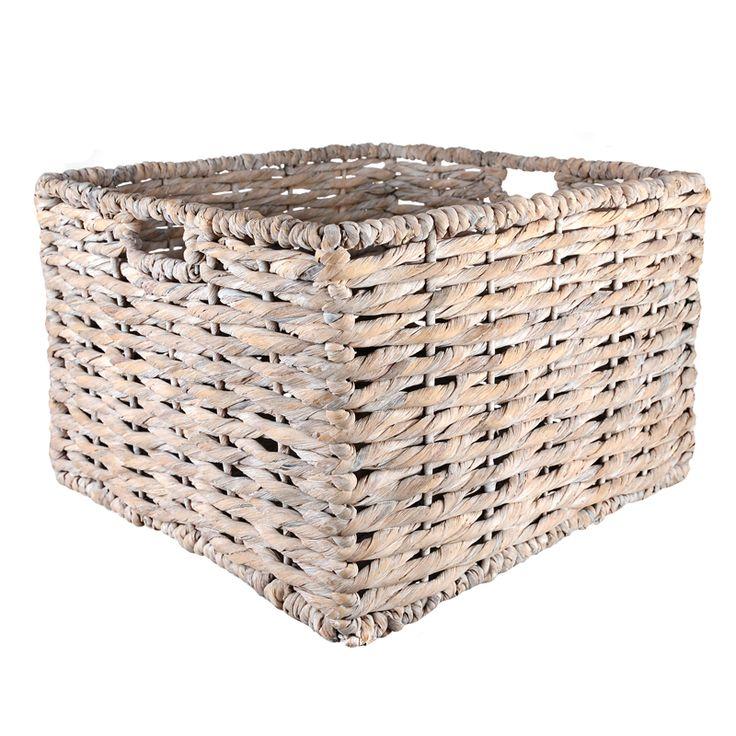 BASKET Square Thick White Wash Hyacinth 42cm | Wheel&Barrow Homewares