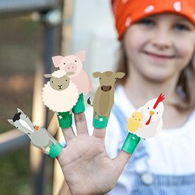 Download and print these adorable farm animal finger puppets. They are sure to delight any child. Illustration by Lia Griffith.