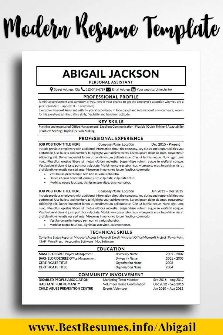 Modern Resume Template Abigail Jackson One Page Resume Template