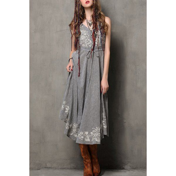 Stylish Spaghetti Strap Floral Embroidery Women's Flare Dress - Gray