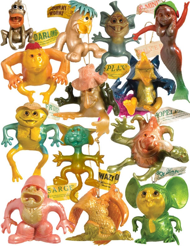 #vintage #toys Russ Wallace Berrie Oily Jigglers collection by Erik Sheets!  Dimestore toys