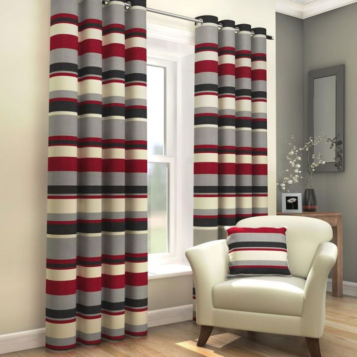 Amazing Striped | Eyelet | Lined Curtains | Red Black | Tonyu0027s Textiles | Tonys  Textiles Part 25