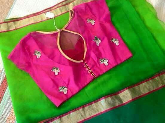 Green saree with pink blouse