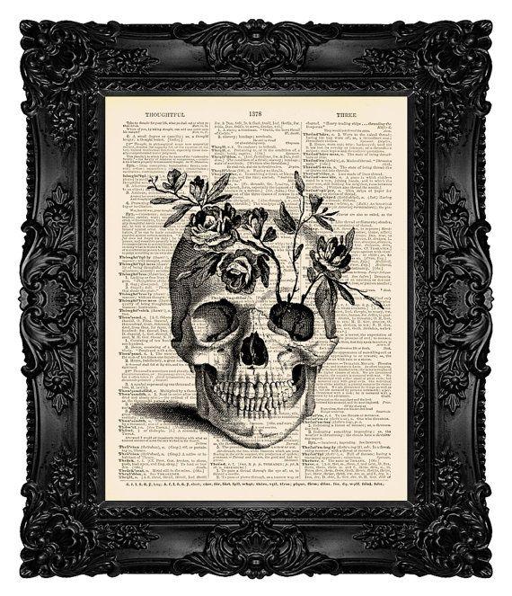 Arte stampa teschio pittura cranio opera di MadameBricolagePrint
