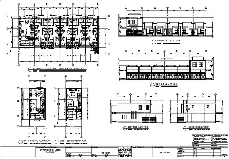 Multiple Units House Floor Plan With Elevations Perspective Structural Electrical Plumbing