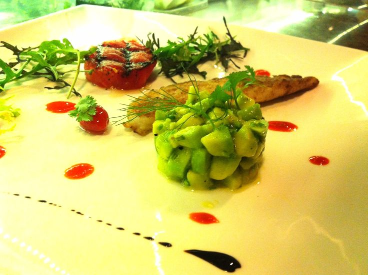 Cod fish. Grilled watermelon. Avocado coriander salad. Blood red capsicum. Cherry tomato confit. Balsamic reduction.