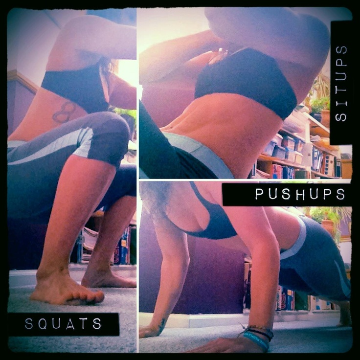 Squat: weight in heels. Shoulders rolled back. Chest out. Knees out. Below parallel if flexibility allows.   Sit-up: All the way down, all the way up.   Push-up: Chest to ground. Modify as needed: on knees, halfway down, or standing against wall.     10 minutes of these movements and you'll be cashed. No gym needed. Try this workout.     10 squats. 10 sit-ups. 10 push-ups.   9 squats. 9 psit-ups. 9 push-ups.   8 squats. 8 sit-ups. 8 push-ups.  7  6  ....etc.