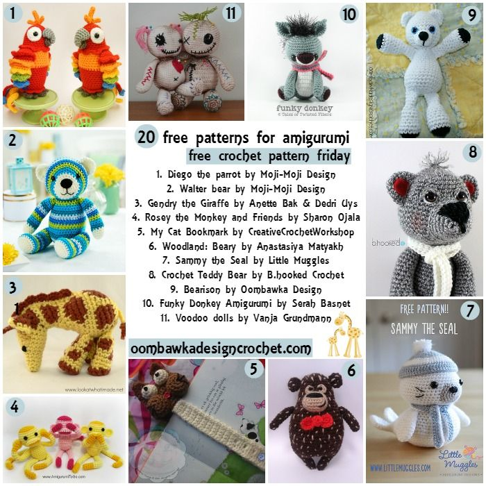 Free Crochet Patterns For Animal Toys : 20 Free Patterns for Toys @OombawkaDesign Free Crochet ...