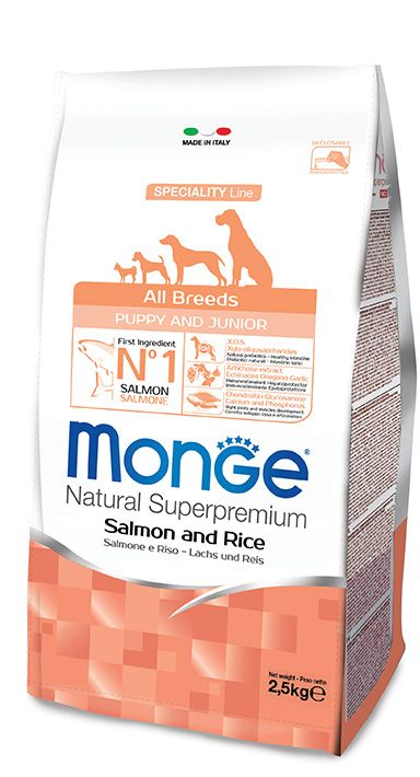 ALL BREEDS PUPPY & JUNIOR SALMON AND RICE Kibbles Monge Natural Superpremium Speciality Line Puppy & Junior with Salmon and Rice are a complete food for puppies of all sizes.