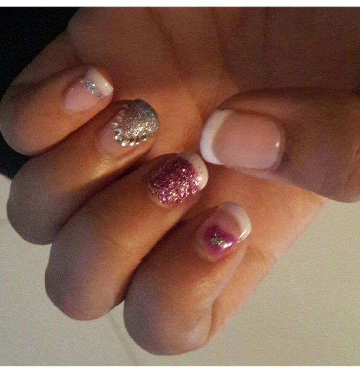 Gel Nail Art with White Tips