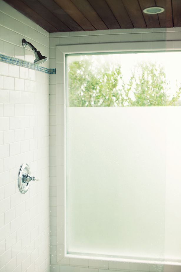 DIY - with frosted Shelf Liner Paper!   makes Frosted glass for master bath windows