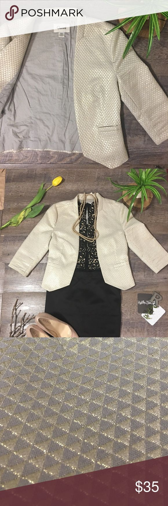 ANTHROPOLOGIE GANNI GEOMETRICAL METALLIC  BLAZER Gold metallic triangle pattern throughout.  Super eye catching and fun! Size XS.Would work well for sizes 2-4. Too small for me. Anthropologie Jackets & Coats Blazers