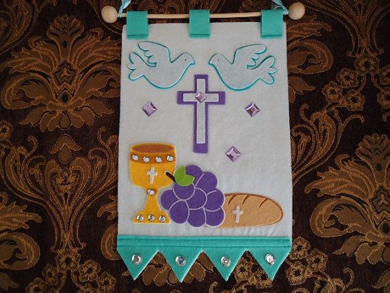 Christianity Rosaries First Communion Banner by mkhrcrochet1965, $22.00