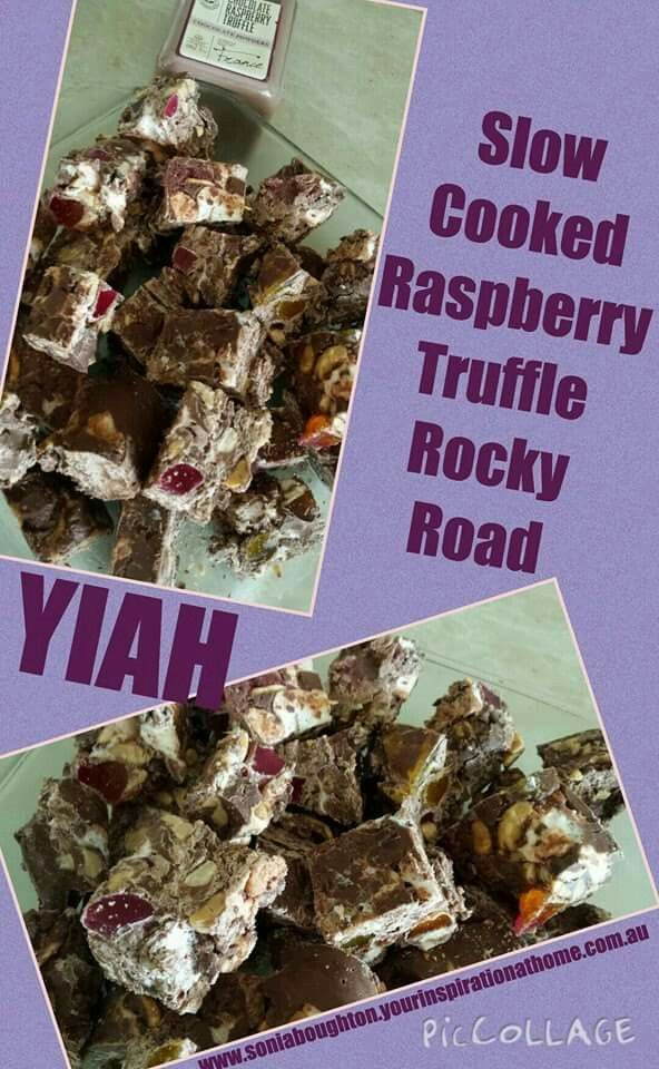 Slow cooked Raspberry Truffle Rocky Road..  500 grams chocolate buttons,      (I used milk and dark chocolate)  1 packet mini marshmallows   1 200gm pack jubes, diced  2 tbspn YIAH Choc Raspberry Truffle power  Directions  Place chocolate in slow cooker and cook on high, uncovered until chocolate has melted  Stir every 15 minutes (mine took an hour to melt)  Add remainder of ingredients  Cook for a further 5 - 10 minutes until marshmallows have started to soften.  Pour or ladle into a tray…
