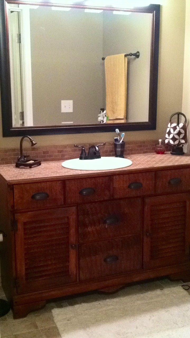 Old dresser made into a bathroom vanity scrub a dub dub for Turning a dresser into a bathroom vanity