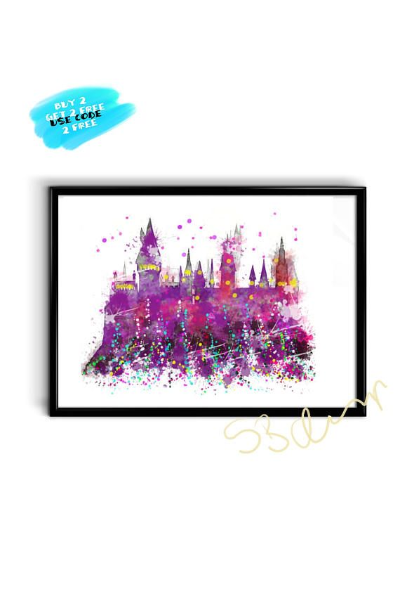 Hogwarts Castle Watercolor Poster Harry Potter Watercolor