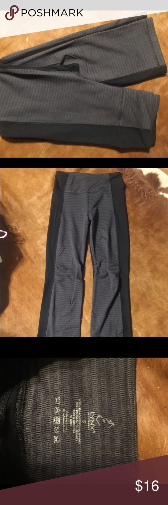 EUC Lynx Sz S bootcut leggings Great pair of bootcut leggings with a bit of extra room in the knees to help with those hard to hit yoga poses!! Two toned black and gray and they have a small back pocket across the waist band for keys or cash etc. Sz S Pants Leggings