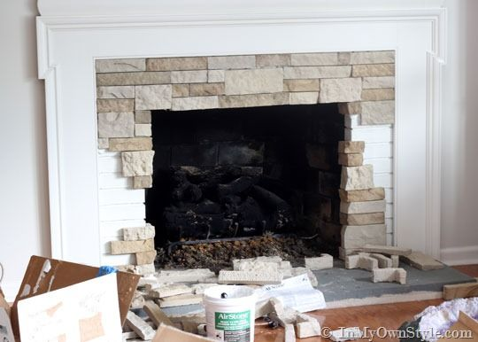 "Used AirStone to cover a brick fireplace with ""stone"". Wondering if I could do this with tile fireplace? kh"
