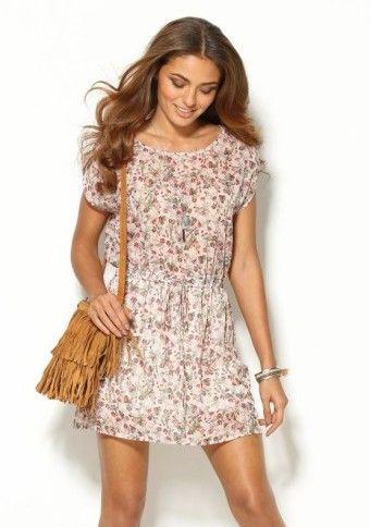 Krátke šaty s drobnou potlačou kvetov #Modinosk #boho #dress #bohodress