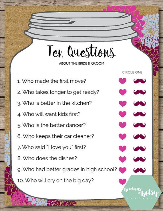 Mason Jar Ten Questions Bridal Shower & Wedding by HTBHandmade