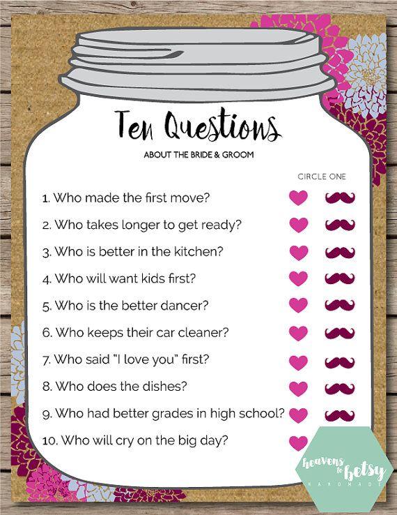 mason jar ten questions bridal shower wedding game in 2018 wedding pinterest bridal shower wedding and bridal