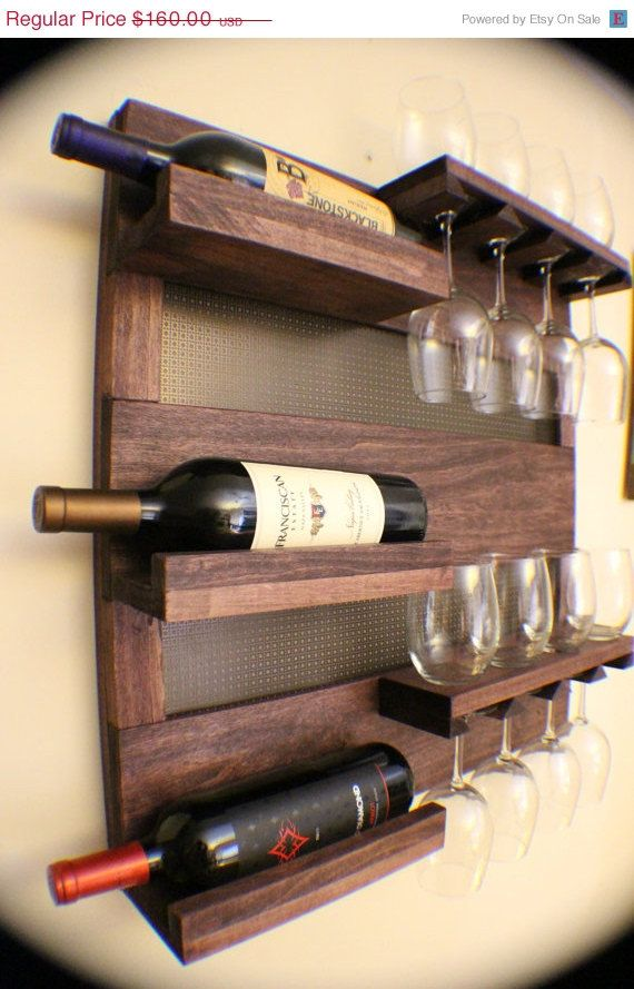 ON SALE Rustic Dark Cherry Stained Wall Mounted Wine Rack with Shelves and Decorative Mesh, Wine and Liquor Shelf and Cabinet