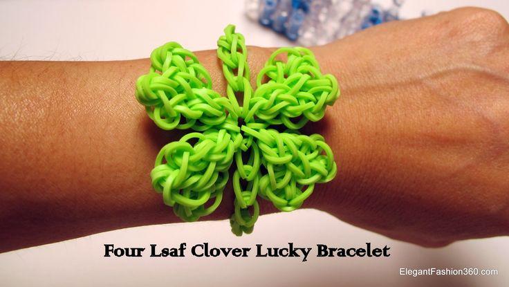 Rainbow  Loom St.Patrick's  4 Leaf Clover lucky charm and Bracelet