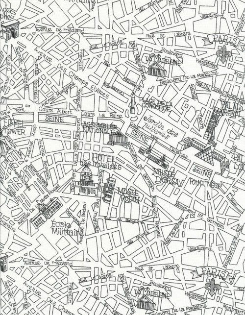 1/2 Yard - Timeless Treasures - Paris Map - Black and White