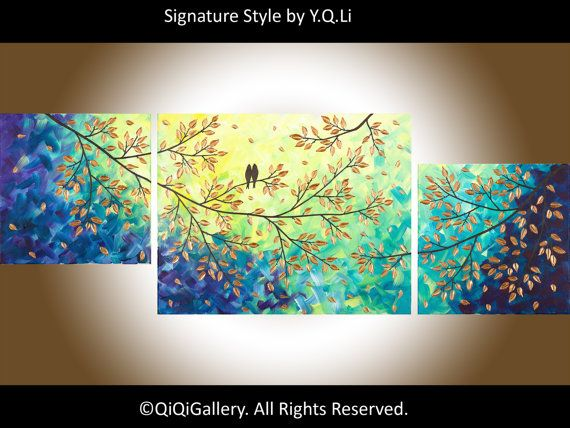 """Abstract Art Landscape Painting Original Modern Heavy Texture Impasto Palette Knife Tree Wall Décor """"Evening Romance"""" by QIQIGallery"""