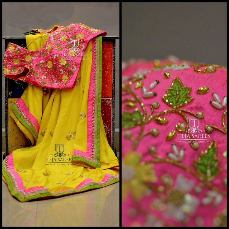 TS-SR-365Yellow Pure Chiffon saree with a beautiful Pink Rawsilk hand worked blouse Available For orders/queriesCall/ whatu2019s app us on8341382382 Mail us tejasarees@yahoo.com 12 April 2017