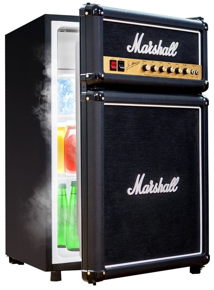 Marshall Compact Fridge     From the main stage to the man cave, the Marshall Fridge was born to rock. Featuring authentic Marshall Amp parts including logos, fret cloth, and a brass finished faceplate, the ultimate combination of rock and refrigeration is finally here. Thisfridge have a 4 cubic feet main compartment ...  Continued at: http://www.walletwrecker.com/marshall-compact-fridge/