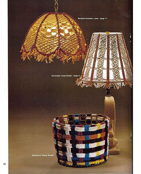 There are 13 wonderful patterns to make for your home in this issue including a smokers case, waste basket, wall hangings, lamp shades and hanging lamps, table lamp, victorian lamp and tulip lamp, and a woven serving set. Condition: New Designed by Virginia Walker and Jean Chamberlain Published 1978 Pages: 23 Uses macrame cord This listing is for the PATTERNS ONLY, not the finished items or any materials needed to complete these patterns. Not A PDF