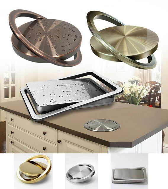Stainless Steel Countertop Flush Built In Flip Top Swing Cover Lid
