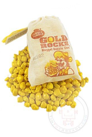 There's gum in them their hills! You get 2 ounces of real Gold Bubble Gum Nuggets in a little cloth miners bag. Do you remember this novelty candy in old fashioned Dime Stores?